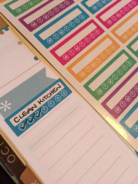 1 page of planner stickers to track your weekly / daily habits can be used for all sorts such as cleaning , reading, leisure activities etc