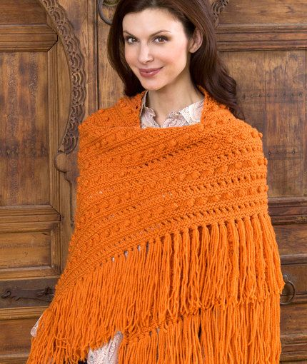 Free Knitting Pattern for Popcorn Shawl - #ad Bobbles and fringe add texture and style to this cozy wrap by Red Heart. tba mtf