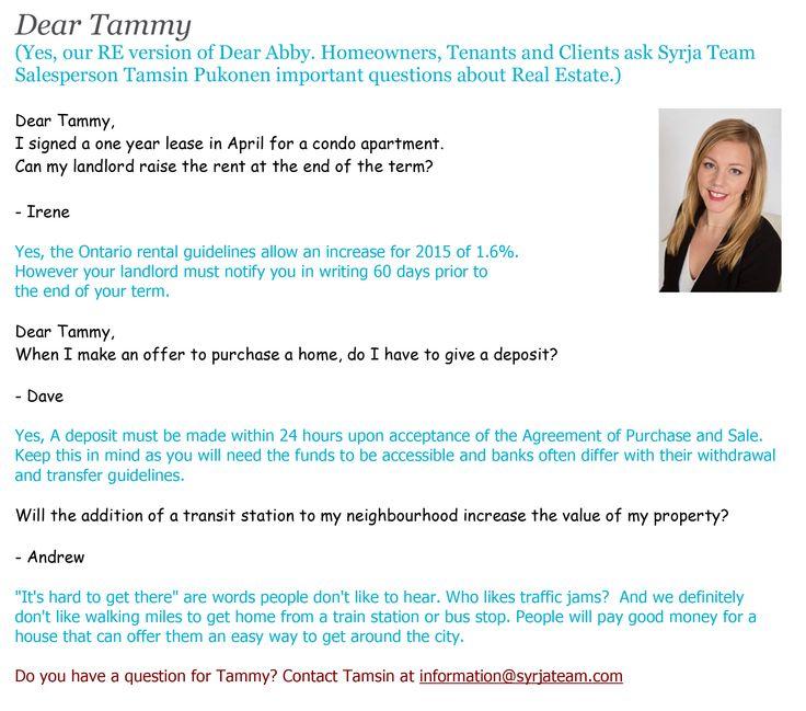 Check out our Dear Tammy... http://www.syrjateam.com/blog/category/dear-tammy/