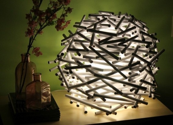 credit: Catch my Party [ http://catchmyparty.com/blog/diy-how-to-make-a-birds-nest-lamp-shade-out-of-newspaper]