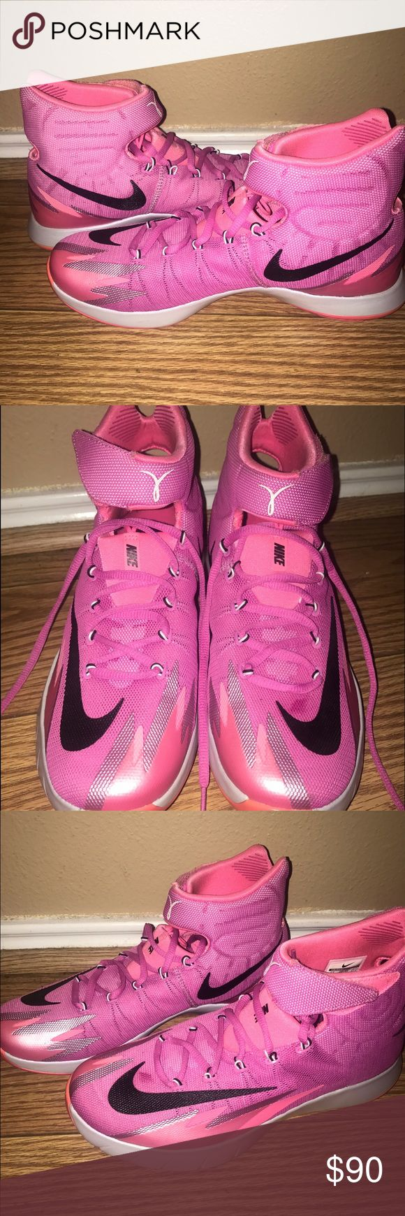 """NIKE ZOOM HYERREV """"THINK PINK"""" BASKETBALL SHOES Practically new. Only worn once. Excellent condition. Message me for any questions. Nike Shoes Athletic Shoes"""