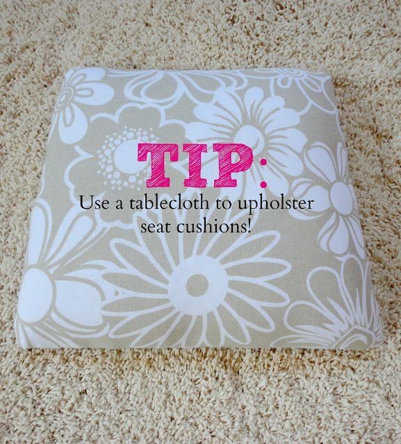 How To Upholster a Chair: an easy step by step tutorial anyone can do!  Vinyl tablecloths could be used for chairs or outdoor cushions/pillows.
