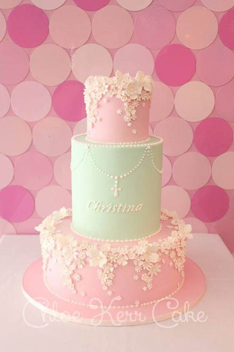 Beautiful Cake Pictures: Garden of Tiny Flowers Christening Cake - Baptism Cakes & Cupcakes, Birthday Cake, Flower Cake -
