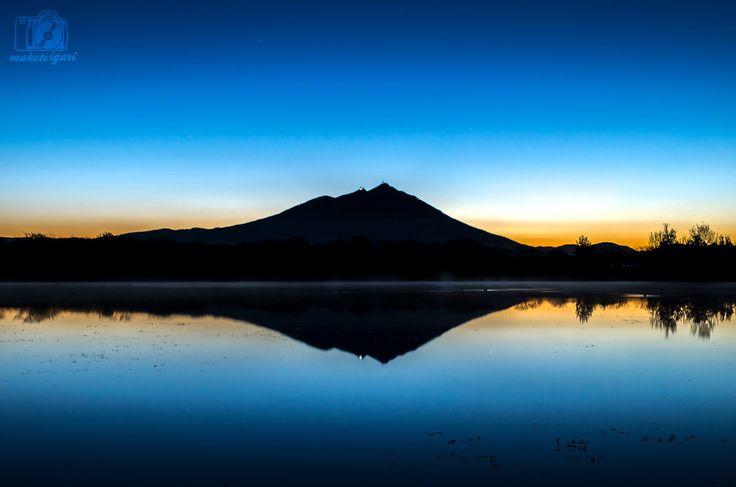 筑波山,薄明,朝焼け,日の出,母子島遊水地,