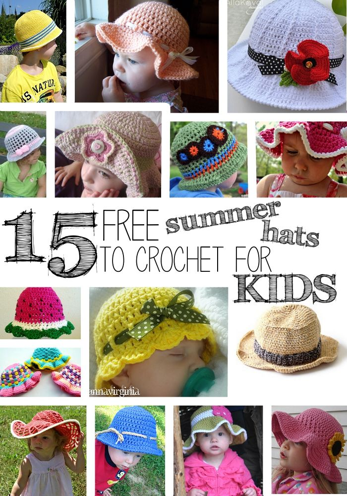 15 Free Summer Hats to Crochet for Kids