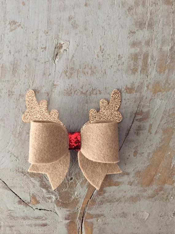 Handmade Reindeer hair bow Rudolph hair bow by EdiesAccessories