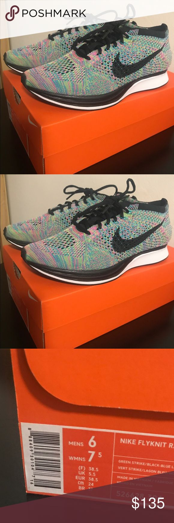 Brand new Nike Multicolor Flyknit Racers Brand new w/ original box. Multicolored Racers. Size 7.5 in women's or 6 in men's. Nike Shoes Athletic Shoes