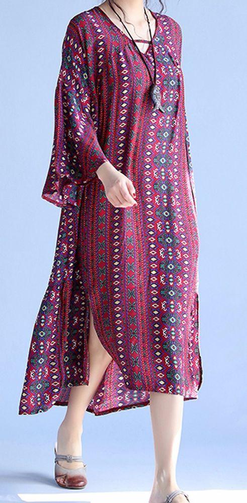 Women loose fitting over plus size flower Bohemian Boho dress long tunic fashion #Unbranded #dress #Casual