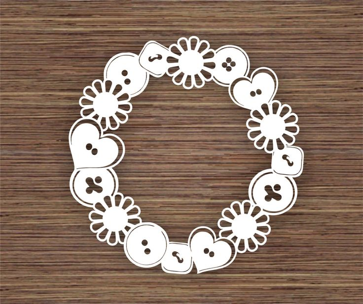 Buttons and Flowers Frame PDF SVG (Commercial Use) Instant Download Papercut Template by ArtyCuts on Etsy