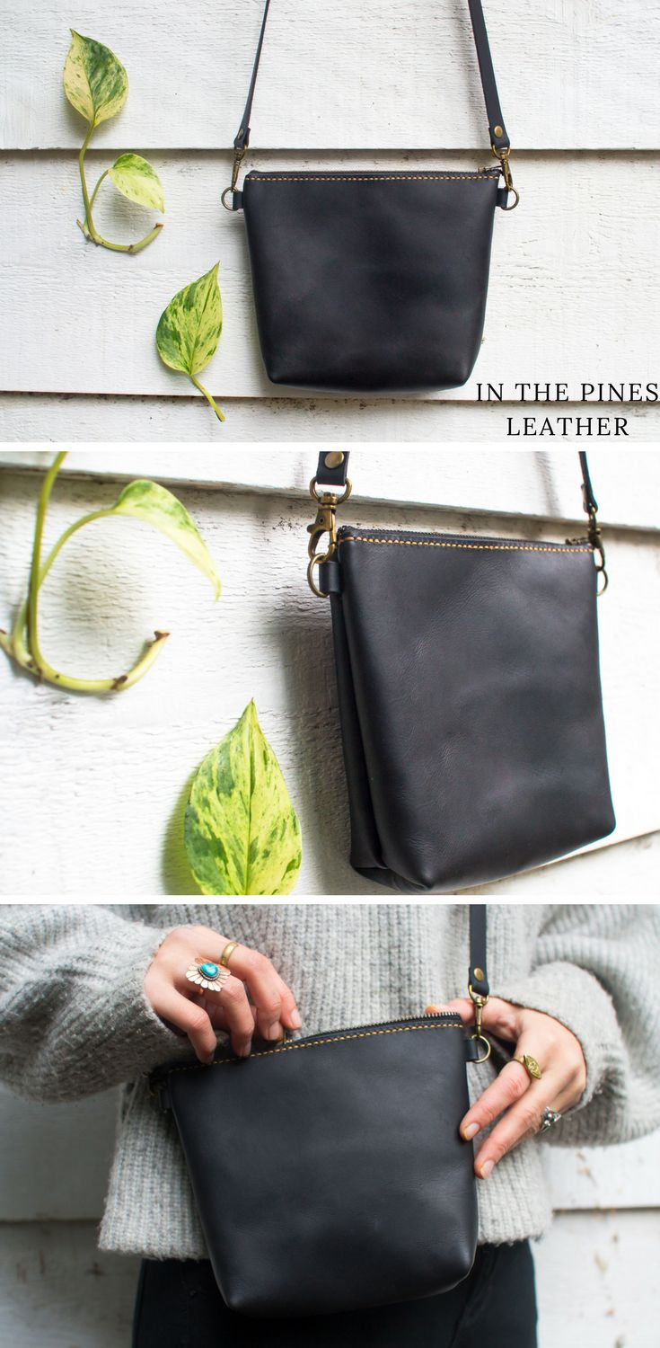 Crossbody leather purse with optional clutch attachment #crossbodyandshoulderbag #crossbodyleatherbag #leatherbag #crossbody #blackleatherbag