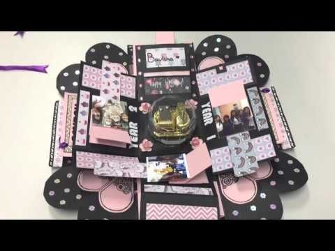 Valentines Day Mini Album Explosion Box Tutorial - Love Paper Crafts - YouTube                                                                                                                                                      Más