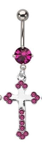 Belly Ring Cross Fancy w/Fuchsia Gems Dangle Naval Steel Body Jewelry