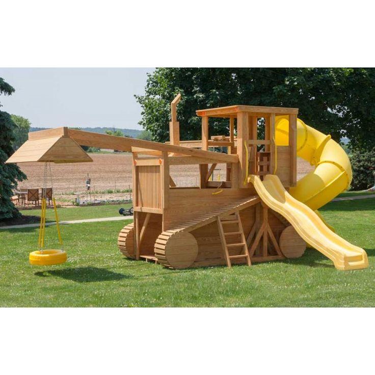 Amish Made 23x12 ft Bulldozer and Backhoe Playground Set with Upgrades