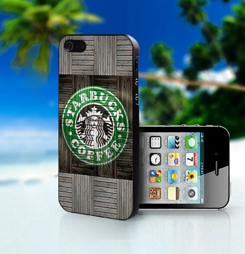 Wood Print Starbucks Coffee Logo - Photo On Hard Cover For iPhone 5