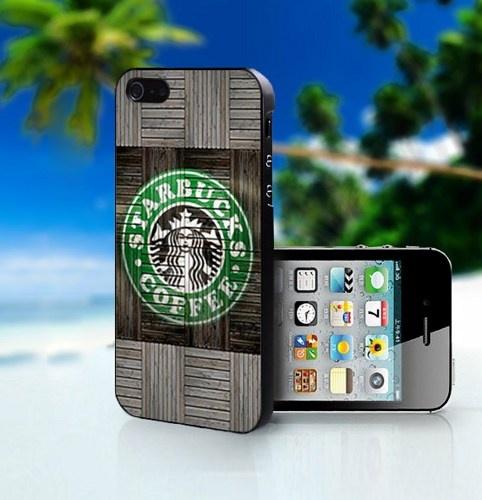 Wood Print Starbucks Coffee Logo - Photo On Hard Cover For iPhone 5