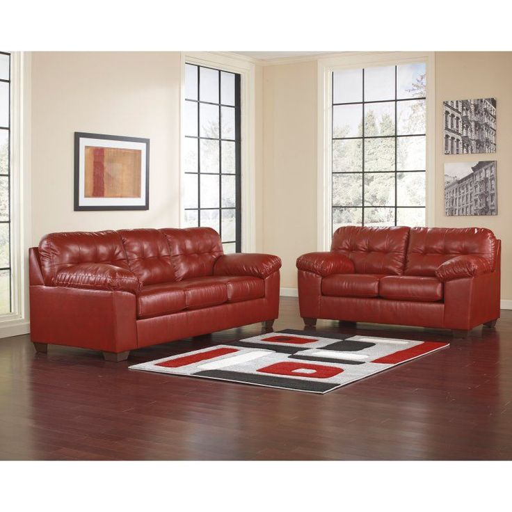 Perfect Signature Design By Ashley Alliston Leather Living Room Set   FSD 2399SET  RED