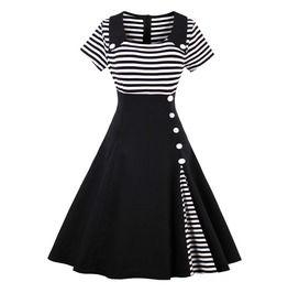 Vintage Retro Black And White Striped Dress 149938