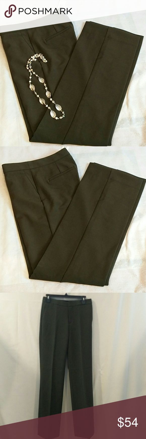 """Banana Republic Straight Trouser Pant Size 4 4 You are looking at a new with tag Banana Republic Women's Straight Trouser. Size 4, high rise, straight fit through the hip and Thigh, straight leg. Olive green color, 79% Polyester, 15% Viscose 6% Spandex, made in Bangladesh. Heavy material.  Length~ 42"""" Inseam~33"""" Waist~39"""" Please look at pictures and ask questions before buying. Thanks for looking. Banana Republic Pants Trousers"""