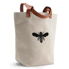 Apple & Bee Bucket Tote: White Canvas with Black Bee | $44.95