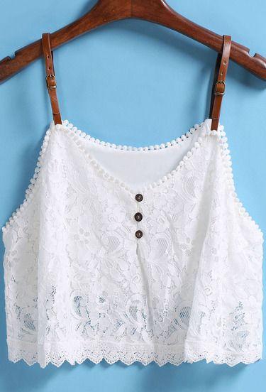 White Strap Buckle Lace Vest