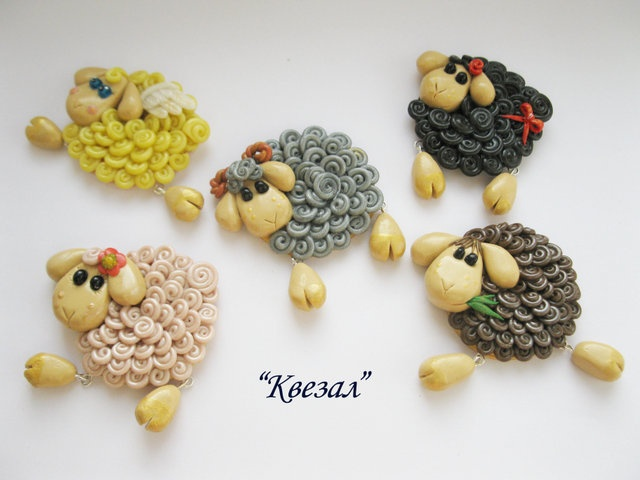 sheeps with dangling feet - polymer clay pins