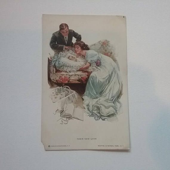 Antique Harrison Fisher Postcard Their New Love Antique Baby