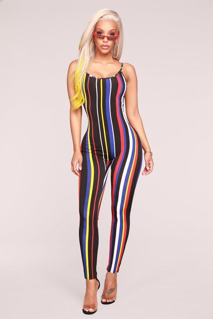 dc5ec62abdc0 Stripe Season Jumpsuit - Black Multi