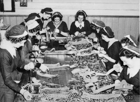During the war, women in Australia worked in munitions factory building ammunition. These women are filling machine gun ammunition belts. Photo taken on October 17, 1939.  https://cas.awm.gov.au/item/000010