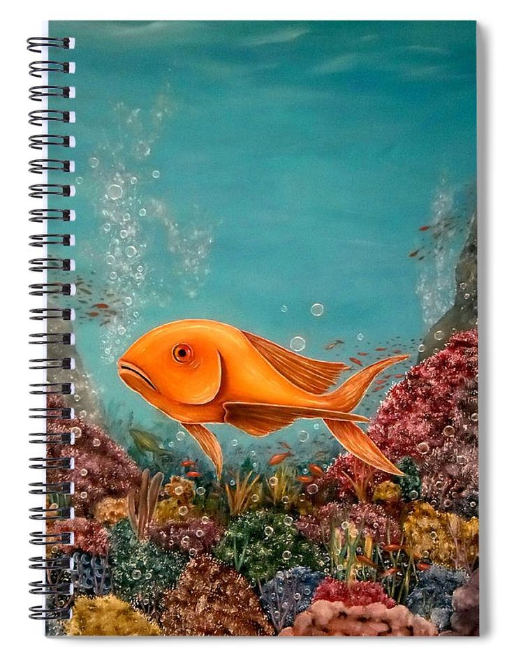 Spiral Notebook,  stationery,school,supplies,cool,unique,fancy,trendy,awesome,beautiful,design,unusual,modern,artistic,for,sale,items,products,office,organisation,fish,bubbles,corrals,blue,turquoise,colorful
