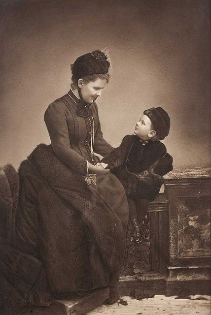 Queen Emma of the Netherlands with her daughter Princess Wilhelmina