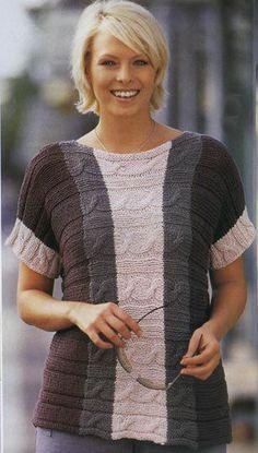 Пуловер вязаный поперек