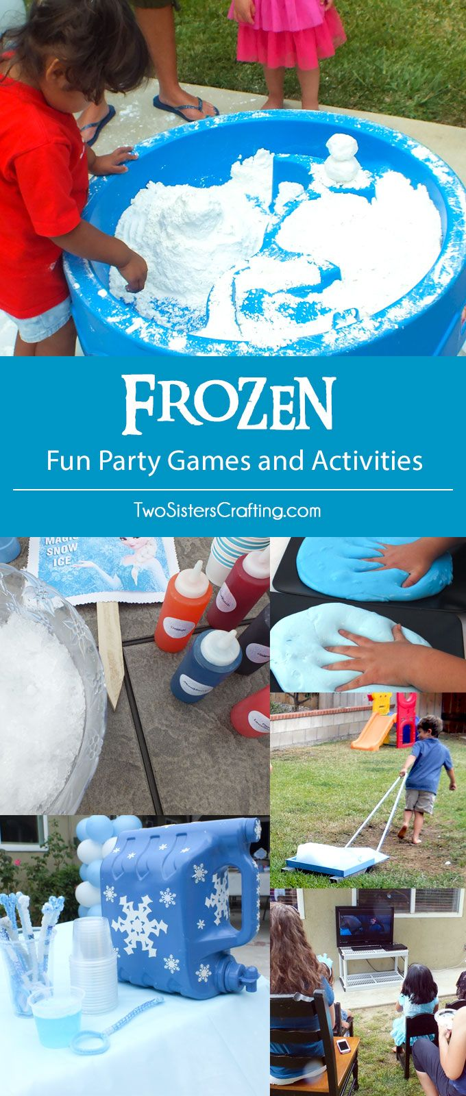 Disney Frozen Party Games and Activities - Throwing a Frozen Birthday Party? We have great ideas for Frozen-themed DIY Party Games and Activities including DIY Play Snow, Troll Slime, Snow Cones and more! Pin for later and follow us for more fun Frozen Party Ideas.