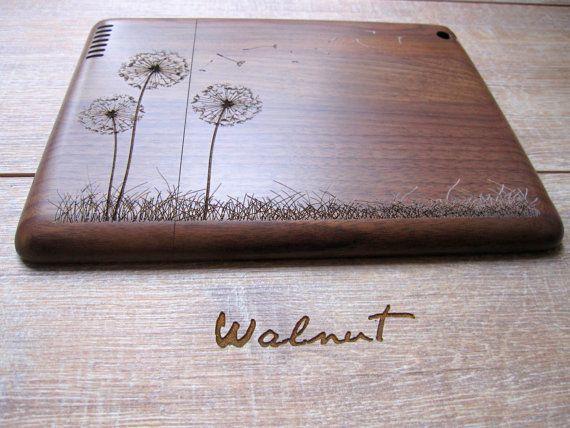 ON SALE Ipad 2 case - wooden cases walnut or bamboo wood - Dandelion