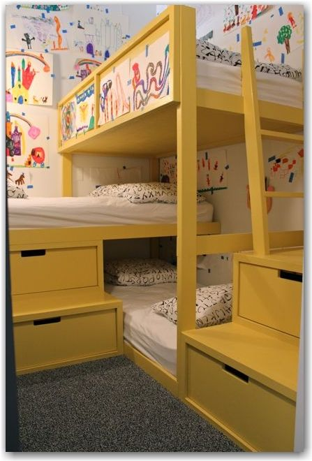 Brilliant use of space. This loft bedroom has three bunks and 4 drawers in a 9 x 6' former closet space! Love this! From @Angela Gray  www.tphblog.com loft tour