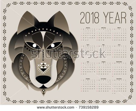 Dog calendar 2018  Chinese New Year symbol  head wolf in tribal     Chinese New Year symbol  head wolf in tribal design with ethnic decorative  elements  Days of each month and week display  Vector flat style  illustration