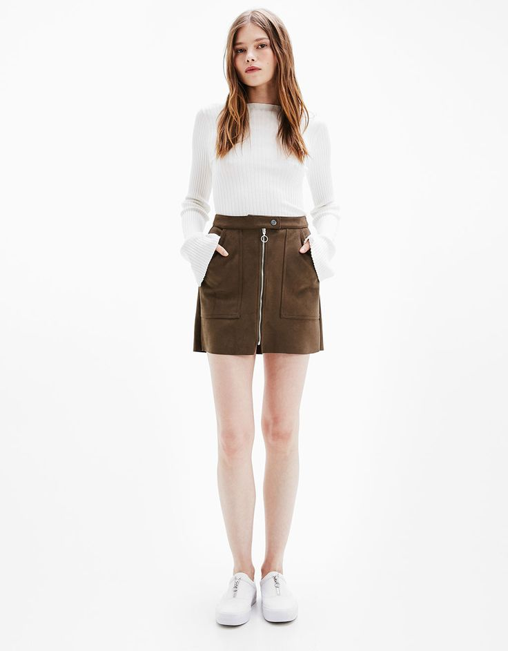 Faux suede mini skirt with pockets - null - Bershka