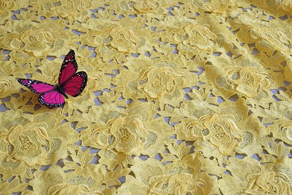 Yellow Gorgeous Double Rose Embroidery Lace Fabric by Wennielace