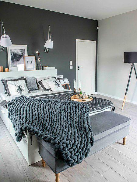 Las 25 mejores ideas sobre peque os dormitorios de for Cuarto negro con gris
