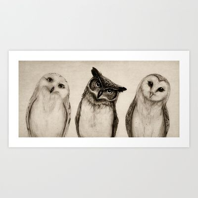 The Owl's 3 Art Print by Isaiah K. Stephens - $15.00