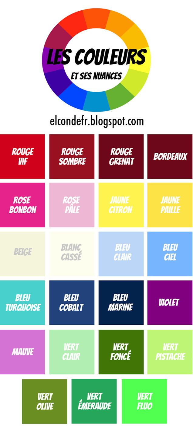 Les couleurs et ses nuances. A list of colors in French beyond the basic ones.