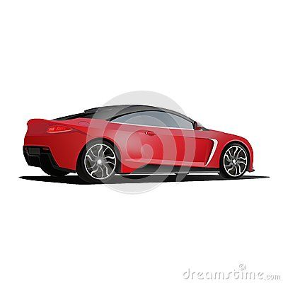 Illustration red car with custom rim