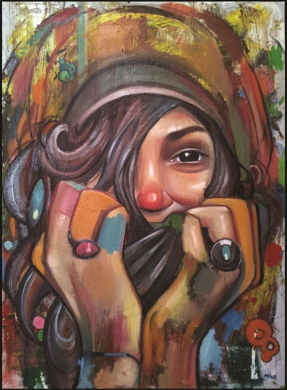 Mihail Korubin * Reminiscence  *  2013 /oil on canvas/ 135cm x 100cm   * Available #art #Figurative #paintings #figures #faces #portraits #hands #korubin #mihail #oil #canvas #Reminiscence