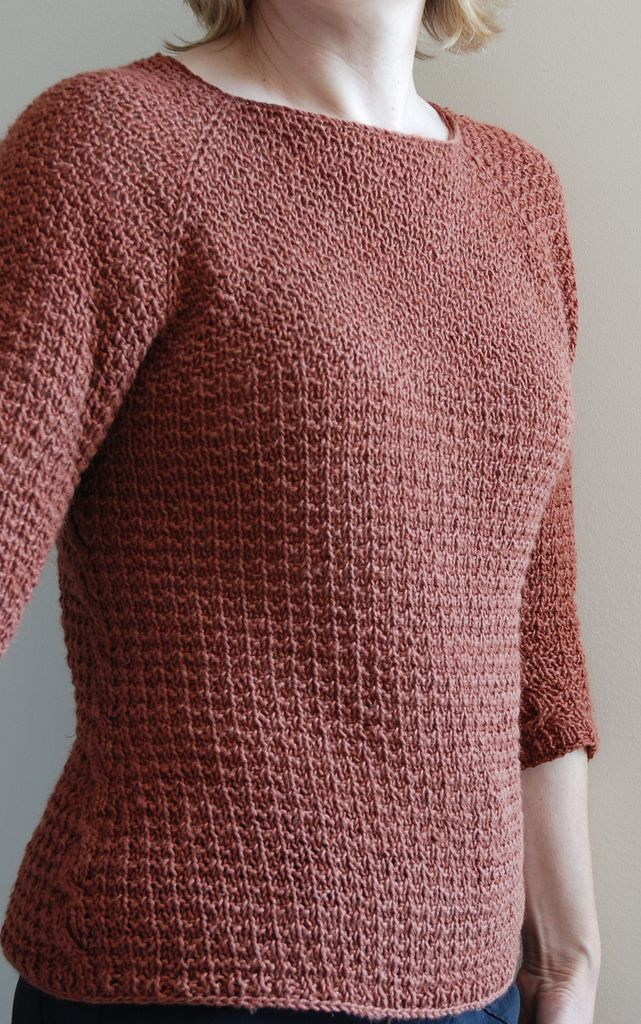 Free Knitting Pattern for Miss Honeychurch Sweater - This pullover is worked in one piece from the top down and features textured stitches, unexpected side cables, three-quarter-length sleeves, and a flattering A-line shape. Designed by Cheryl Niamath. XS [S, M, L, 1X, 2X, 3X] Pictured project by Erysimum