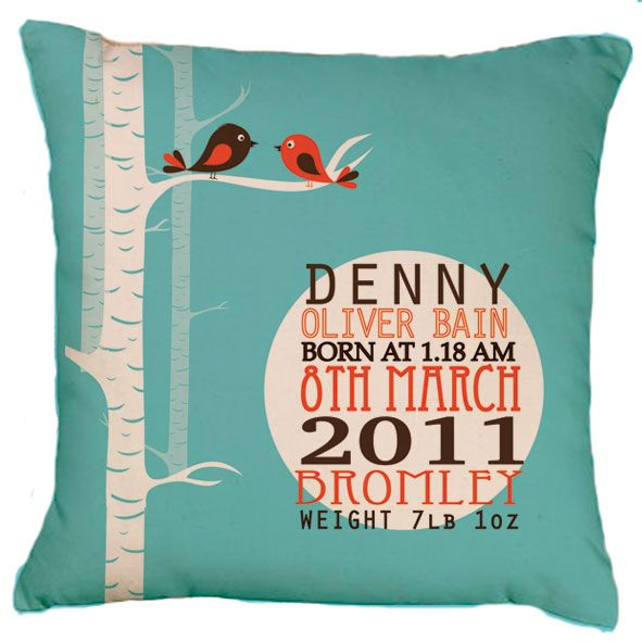 Personalized birth announcement cushion