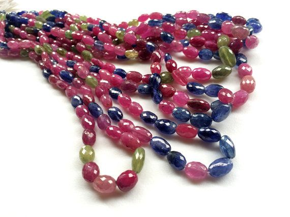 Multi Sapphire & Ruby Beads Multi Sapphire Plain by gemsforjewels