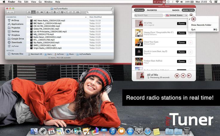 Escuchar la radio en el Mac es tan fácil como descargar myTuner Radio. Se trata de un programa capaz de sintonizar decenas de miles de emisoras de radio de todo tipo procedentes de más de 80 países del mundo.  http://mytuner-radio.malavida.com/mac/