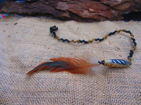 Whisper  Macrame Black and Brown Clip in Feather by NoodgeDesigns, $24.99