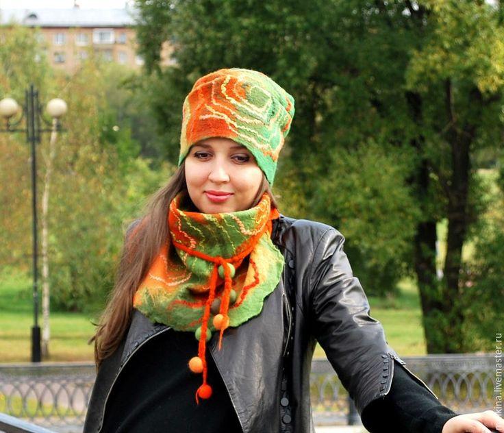 Купить Валяная шапка с шарфом Осенние - зеленый, шапка и шарф, шапка с шарфом, осенняя шапка
