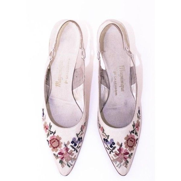 60s Cream Slingback Heels with Floral Needlepoint Embroidery (4,060 HNL) ❤ liked on Polyvore featuring shoes, pumps, sling back shoes, flower print shoes, leather sole shoes, floral pattern pumps and floral-print shoes