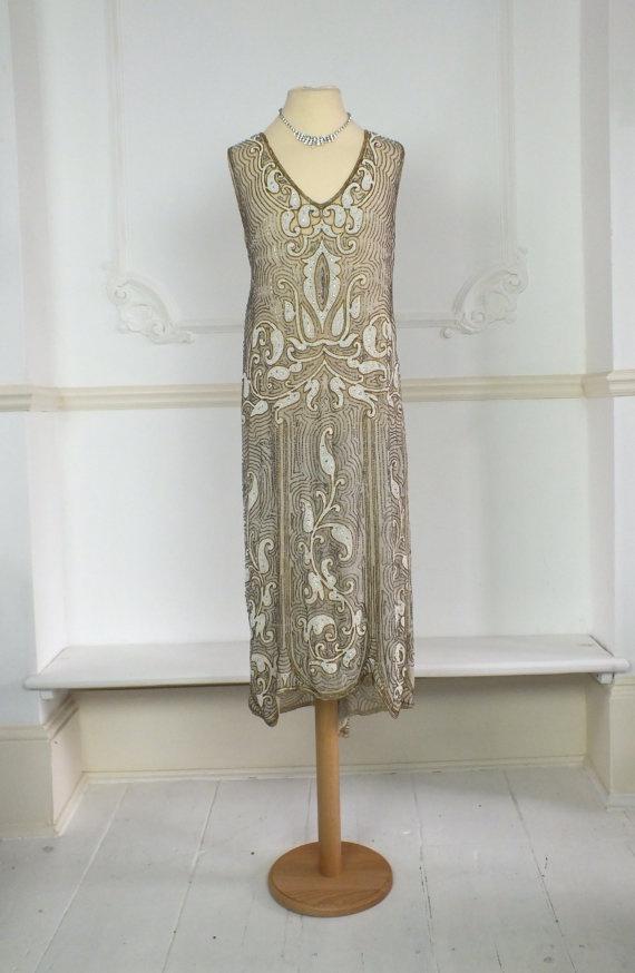 Lovely 1920s Parisian cotton beaded flapper dress by PenniesLondon, $1700.00